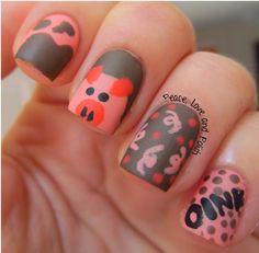 pig themed nail art