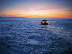 Black Suv on Snow during Golden Hour  Free Stock Photo