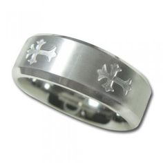 Titanium Wedding Band in 8mm with Satin Finish Center with Crosses - $119.95 - Guaranteed for Life, 90 Day Return Policy, Free Shipping