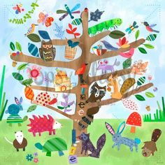Tree of Life - Critters Canvas Reproduction