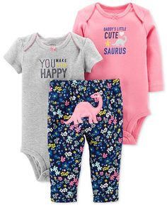 d95944eb4aef Carter s Baby Girls 3-Pc. Cotton Dinosaurs Bodysuits   Pants Set - Pink 12  months. Carters Baby Girl ClothesBaby Girl PantsBabies ...