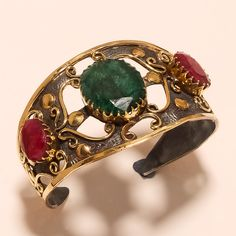 925 Sterling Silver Handcuff African Ruby, Emerald Gemstone Ethnic Retro Jewelry #Handmade #MihrimahSultan #NewYear