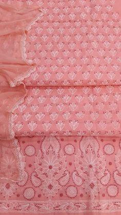Lucknowi Chikan Suit Length 3 Piece Peach Cotton $60.09