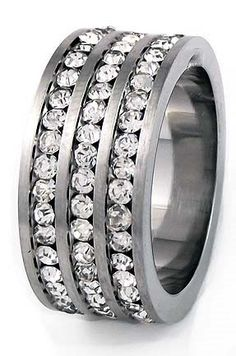 Mens Stainless Steel Cubic Zirconia Triple Band 10mm - Listing price: $49.99 Now: $24.95 + Free Shipping
