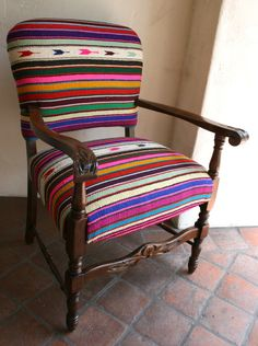Spanish style Arm Chair covered in vintage Mexican Blanket.