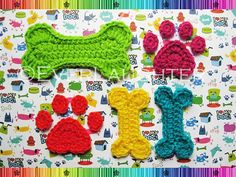 Dog Paw and 2 Sizes of Dog Bone Applique   CROCHET by EverLaughter, $3.95