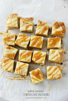 French Delicacies Essentials - Some Uncomplicated Strategies For Newbies Salted Caramel Cheesecake Blondies Recipe - These Are Amazing. The Perfect Combination Of Cheesecake And Blondie With A Drizzle Of Caramel And A Sprinkle Of Salt Dessert Drinks, Party Desserts, Cookie Desserts, Cookie Recipes, Dessert Recipes, Dessert Bars, Salted Caramel Cheesecake, Cheesecake Brownies, Salted Caramels