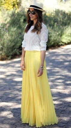Yellow Plain Pleated Bohemian Popular Loose Flowy Maxi Skirt