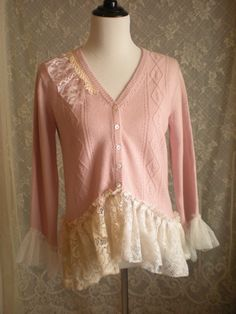 Bohemian Shabby Chic Cashmere and Silk Sweater - Size Large - Altered - Eco Friendly -  Upcycled - Romantic and Feminine. $56.00, via Etsy.