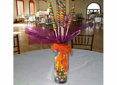 Candy Table Centerpieces, Candy Arrangements, 1st Birthday Parties, Girl Birthday, Candy Crafts, Best Candy, Candy Bouquet, Fiesta Party, Frozen Party