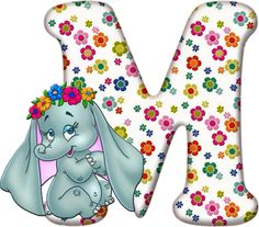 Flowered Alphabet with an Elephant. - Oh my Alfabetos! Alfabeto Disney, Flower Alphabet, Alphabet Letters, Birthday Letters, Picture Letters, Disney Coloring Pages, Baby Shower, Birthday Wishes, Initials
