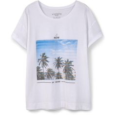 Violeta BY MANGO Image Cotton T-Shirt ($26) ❤ liked on Polyvore featuring tops, t-shirts, short sleeve t shirt, round top, short sleeve tops, cotton t shirt and short sleeve cotton tops