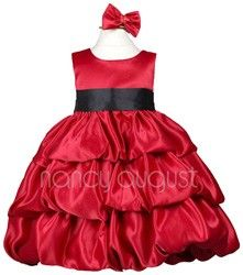 Satin Red Baby Dress with Bubble Layered Skirt Odessa... <3 Jo
