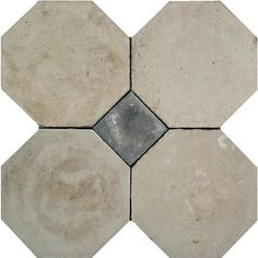 Antique white cement octagon tiles with grey corner diamonds