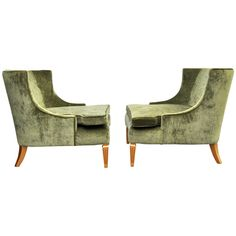Pair of 1950s Velvet Club Chairs   From a unique collection of antique and modern club chairs at http://www.1stdibs.com/furniture/seating/club-chairs/