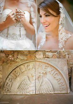 mexican wedding love the veil and the rosary! Latin Wedding, Spanish Wedding, Catholic Wedding, Our Wedding, Wedding Stuff, Wedding Photos, Wedding Veils, Wedding Dresses, Mexican Themed Weddings