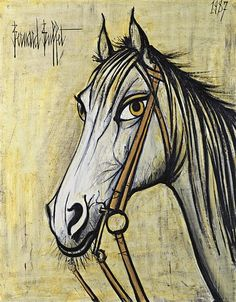 Artwork by Bernard Buffet, Tête de cheval I, Made of oil on canvas Seabrook Texas, French Art, Oil On Canvas, Illustration, Artwork, Abstract Art, Horses, Vintage, Clowns