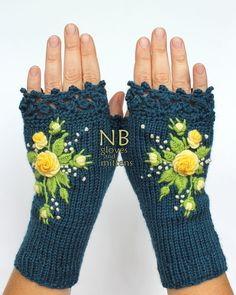 Knitted Fingerless Gloves Turquoise Yellow Roses Gloves &