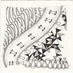 Ein Zentangle aus den Mustern Matuvu, Railwayz, Tringle, Ribz gezeichnet von Ela Rieger, CZT