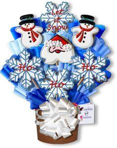 Let It Snow Hand Decorated Sugar Cookie Bouquet Gift ArrangementSanta Claus, Snowmen, Snowflakes