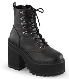 """Demonia Assault Lace Up Ankle Boots. 4 3/4""""(12cm) Block Heel, 2 1/4""""(5.75cm) Cleated Platform Double D-Ring Lace-Up Front Ankle Boot w/Red Stitch Detail, Inside Zip Closure"""