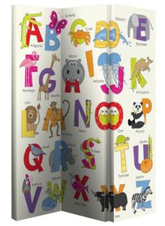 Animals ABC Screen (008143) - Arthouse Room dividers - A hinged screen or room divider with 3 linked canvas panels, patterned on one side only. A fun all over children's ABC brightly coloured design. Overall size 120 x 150 x 2.5 cm thick.
