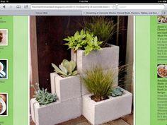 Mini cement block planter
