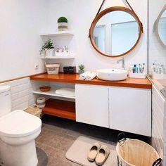 Organização de banheir Bathroom Design Small, Bathroom Ideas, Vanity, Mirror, Furniture, Home Decor, Washroom, Dressing Tables, Powder Room