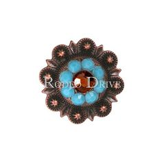 "Antique Copper Swarovski Crystal TOPAZ/ TURQUOISE/ AB concho measuring 1"". Perfect for decorating your Bridles, Breastcollars, Saddles, Pads and Chaps. Makes great crystal jewelry too. Let's not forget Dog Collars ! $12.00"