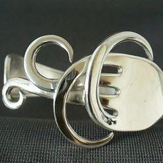 Eco Friendly Antique Upcycled Silverware Jewelry Fork Bracelet