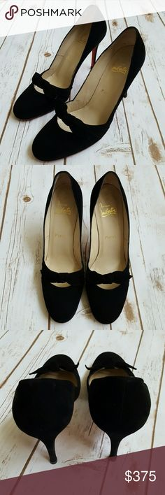 Christian Louboutin suede heels Super cute and probably the most comfortable pair I have worn. Used a few times but still in great condition. Euro 41 but runs small. Very lady like modest shoe. No trades, offers welcome thru offer button only. 100% authentic Christian Louboutin Shoes Heels