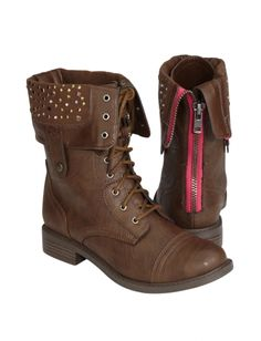 Georgia28 Studded Lace Up Combat Boots LIGHT BROWN MakeMeChic.com
