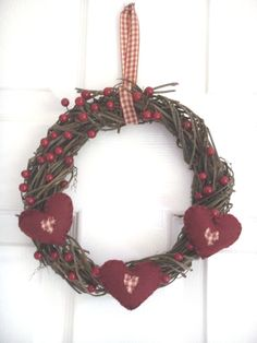 Shabby Chic Hearts Christmas Wreath by Welsheggdesigns on Etsy, £7.50
