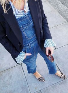 How to wear dungarees - dungarees with shirt blazer and leopard pumps #outfitideas #denim #bellsleeves #outfitinspiration #fashion