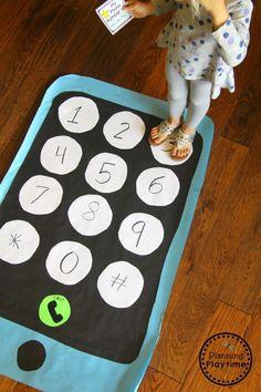 Learn your Phone Number - Giant floor phone#backtoschool #preschool #planningplaytime