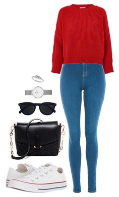 Street style by dalma-m on Polyvore featuring polyvore fashion style Glamorous Topshop Converse Deux Lux Daniel Wellington Le Specs clothing