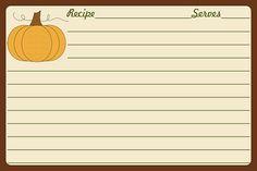Thanksgiving Printable Recipe Card