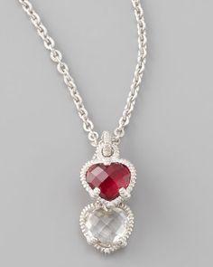 JUDITH RIPKA  Silver Twin Heart Pendant Necklace