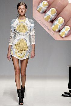 Fashion inspired nail art - Balmain Spring '13