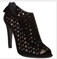 PRADA Perforated Black Suede Ankle Open Toe Boot Heel Shoes Size 36.5 #PRADA #OpenToe