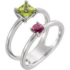 14kt White Peridot & Pink Tourmaline Two-Stone Ring