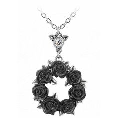 Ring O' Roses Pendant Necklace by Alchemy Gothic ($24) ❤ liked on Polyvore featuring jewelry, necklaces, goth necklace, rose jewellery, rose pendant necklace, rose necklace and gothic jewelry
