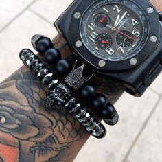 2pcs/set Black Titanium Skull & Crown Bracelets
