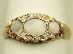 0.48 ct Opal and 0.12 ct Diamond, 18 ct Yellow Gold Dress Ring - Antique Edwardian