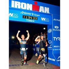 It is inspiring enough to see an amputee finish an #IRONMAN... but even more emotional is having 2 athletes cross the finish line of #IMAZ together after 11 hours of the toughest physical & mental test of all. CAF & Got Chocolate Milk athletes Nick Roumonada and Eric McElvenny shared a smile as they pushed their way to becoming 2 and 3 time @ironmantri finishers!