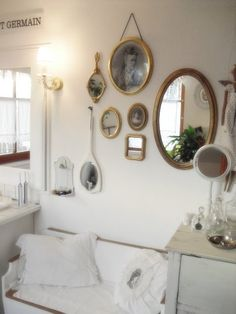 Living Room Wall Mirrors Whitewashed Chippy Shabby Chic French Country Rustic Swedish decor Idea.  ***Pinned by oldattic ***.