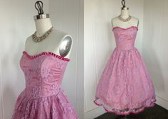 1980's Vintage Pink Lace Prom Dress by FrenchKissxo on Etsy, $165.00