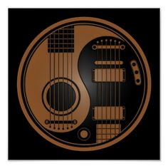 Brown and Black Acoustic Electric Guitars Yin Yang Posters