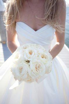 sweatheart ball gown wedding dress w/ off white bouque