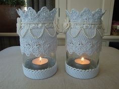 Lace Mason Jars, Mason Jar Crafts, Mason Jar Diy, Bottle Crafts, Crochet Home, Crochet Gifts, Hobbies And Crafts, Diy And Crafts, Crochet Jar Covers